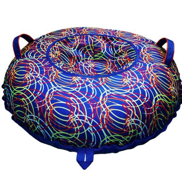 Тюбинг (Санки ватрушки) Цветные спирали на синем 100 см