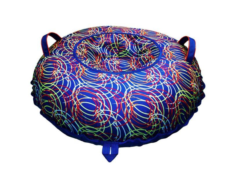 Тюбинг (Санки ватрушки) Цветные спирали на синем 110 см